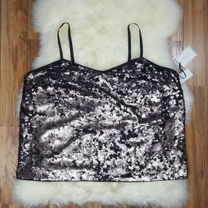 1.State Moody Hues Spaghetti Strap Sequin Tank 2X